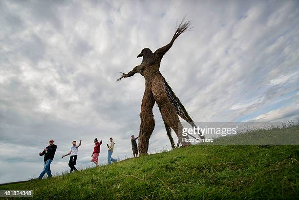 The Wickerman built by local craftsmen Trevor Leat is burned on the final day of the festival at the Wickerman Festival at Dundrennan on July 24 2015...