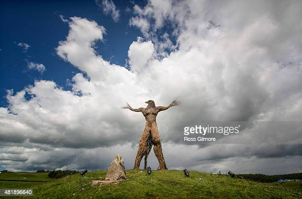 The Wickerman built by local craftsmen Trevor Leat which will be burned on the final day of the festival at Dundrennan on July 24 2015 in Dumfries...