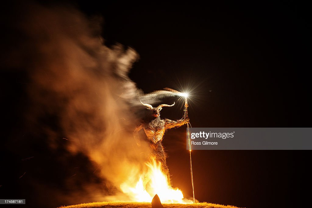 The Wickerman is set on fire to mark the end of the Wickerman festival on July 27, 2013 in Dundrennan, Scotland.