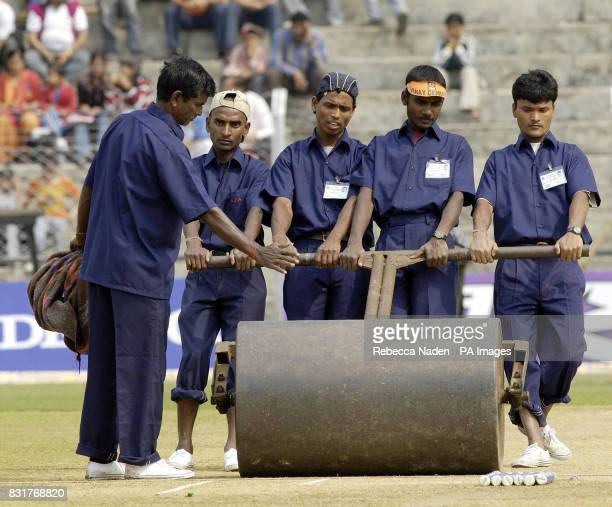 The wicket is rolled at the Nehru Stadium Guwahati India Sunday 9th April 2006 The 5th ODI between India and England has been delayed due to a...