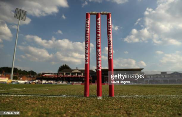 The wicket prior to the Vitality Blast match between Northamptonshire Steelbacks and Nottinghamshire Outlaws at The County Ground on July 6 2018 in...