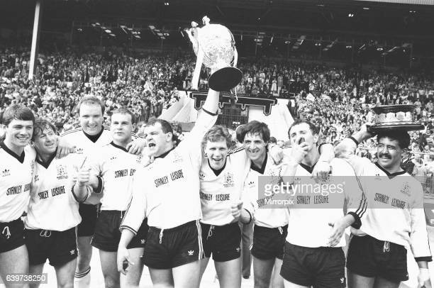 The Widnes team celebrate after their 19 6 victory over Wigan in the Rugby League Cup Final at Wembley 6th May 1984