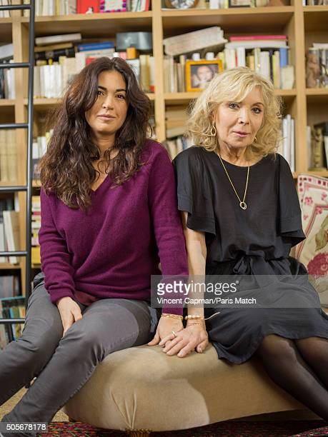 The widow and daughter of Charlie Hebdo cartoonist Georges Wolinski Maryse and Elsa Wolinski are photographed for Paris Match on January 3 2016 in...