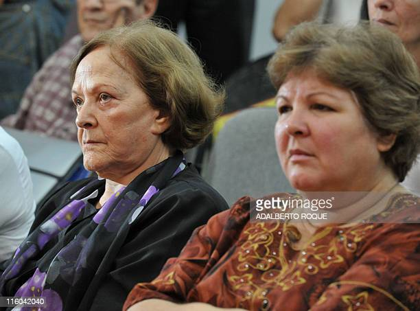 The widow and daughter of revolutionary icon Ernesto Che Guevara Aleida March and Aleida Guevara respectively attend the presentation of a Che's...