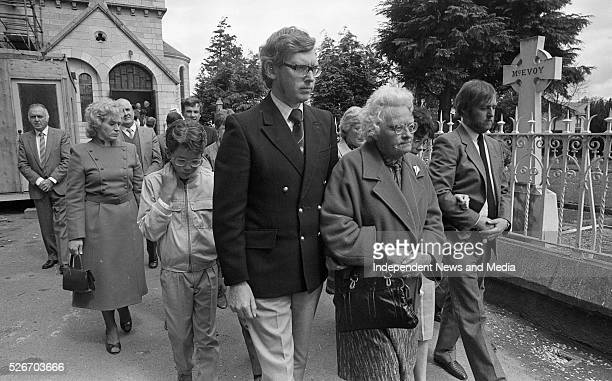 The widow Mrs Elsie Branigan and family members of the legendary Garda Jim 'Lugs' Branigan at his funeral mass held in Mount Argus Church 24/5/86...