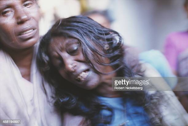 The widow of a low caste man killed by upper caste militia in Tamil Nadu India 1997