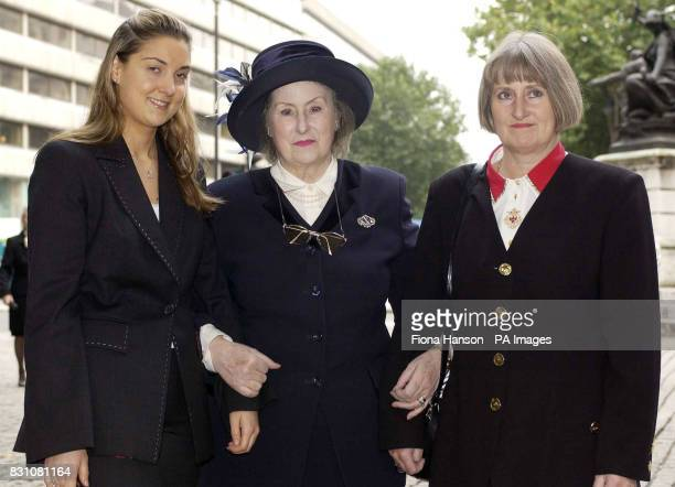 The widow of former Concorde test pilot Brian Trubshaw Yvonne Trubshaw Sally Edmundson and stepgrandaughter Natasha Edmundson attend a memorial...