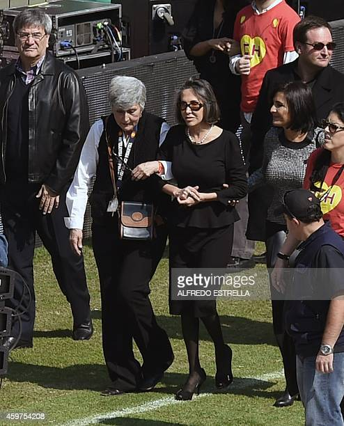 The widow of Mexican comedian Roberto Gomez Bolanos Florinda Meza attends an homage to him at the 105000capacity Azteca stadium in Mexico City on...
