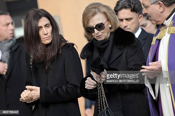 The widow of Michele Ferrero Maria Franca Ferrero and the widow of Pietro Ferrero Luisa Ferrero are pictured during the funeral of Michele Ferrero on...