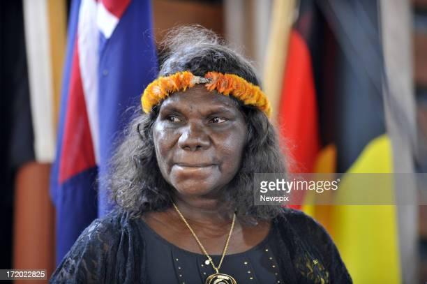 The widow of Mr Yunupingu, Yalmay Yunupingu attends the state memorial service for 'Yothu Yindi' founder Mr Yunupingu on June 30, 2013 in Gulkula,...