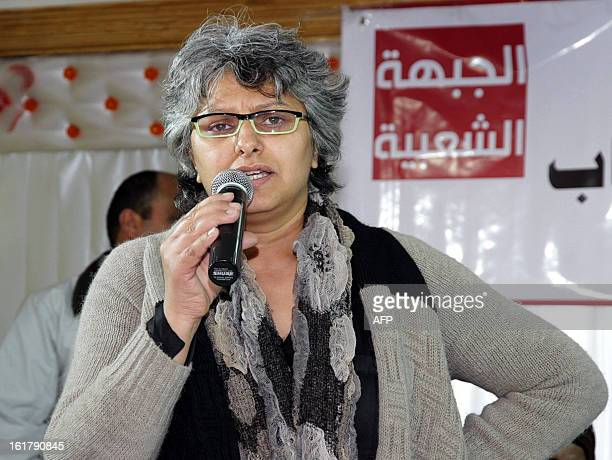 The widow of murdered opposition figure Chokri Belaid Besma Khalfaoui speaks during a meeting with representatives of the Tunisia's leftist...