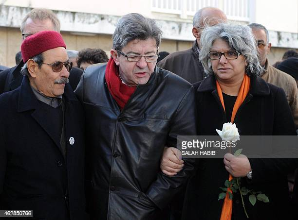 The widow of murdered Tunisian opposition figure Chokri Belaid Basma Khalfaoui his father Salah Belaid and French left wing party Front de Gauche...