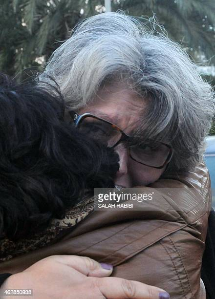 The widow of murdered Tunisian opposition figure Chokri Belaid Basma Khalfaoui reacts during a ceremony marking the second anniversary of his death...