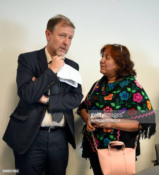The widow of slain Mexican journalist Javier Valdez Griselda Triana and Mexico's representative for the UN High Commissioner for Human Rights Jan...