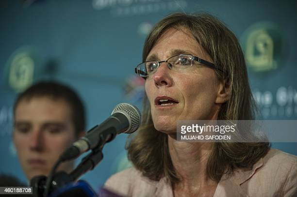 The widow of slain South African hostage Pierre Korkie Yolanda Korkie gives a press conference on December 9 2014 at the Gift of the Givers charity...
