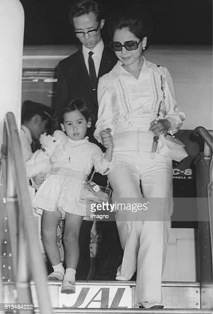 The widow of the indonesian prime minister Sukarno Ratna Sari Dewi Sukarno arrives with her daughter in Tokyo 8th August 1970 By Anonymous