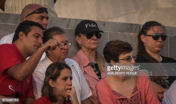 The widow of the late Fidel Castro Dalia Soto del Valle takes part in the May Day rally the last to be overseen by President Raul Castro and the...