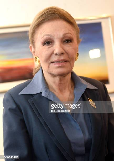 The widow of the Shah former epress of Persia Farah Diba Pahlavi presents 5 limitededition lithographs based on her paintings in Berlin 5 February...