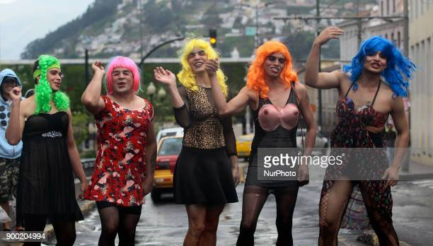 The widows in Quito Ecuador are boys disguised as women who take to the streets at the end of the year to dance mourn for the old year that they are...
