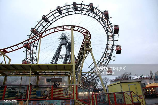 The Wiener Riesenrad near the entrance to the Prater amusement park in Leopoldstadt Vienna 19th November 2010 Erected in 1897 the ride features in...