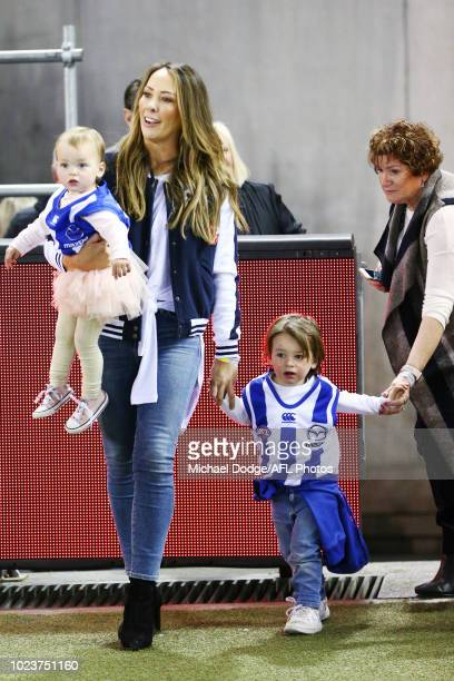 The wife and kids of retiree Jarrad Waite of the Kangaroos arribe during the round 23 AFL match between the St Kilda Saints and the North Melbourne...