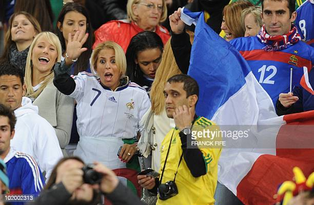 The wife France's striker Franck Ribery Wahiba waves before the start of the Group A first round 2010 World Cup football match on June 11 2010 at...