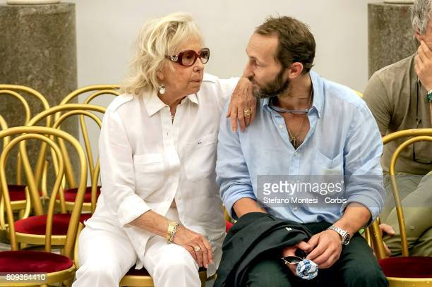 The wife Maura Albites and the son Pierfrancesco by Paolo Villaggio in front the coffin of Italian actor Paolo Villaggio lying in repose at Rome's...
