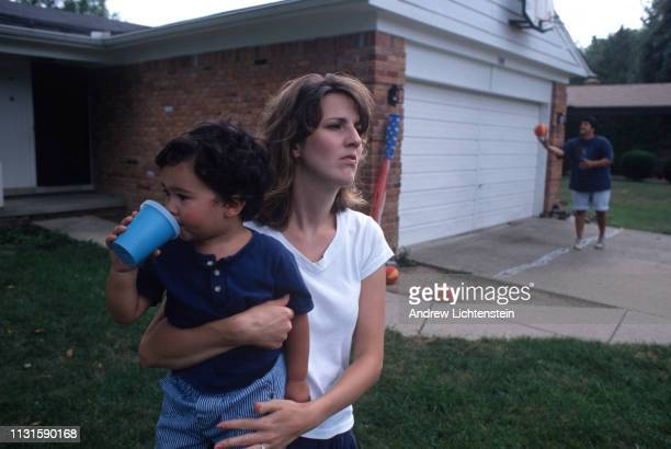 The wife of a striking General Motors assembly line worker worries about the families economic future ion July 8 1998 in Flint Michigan