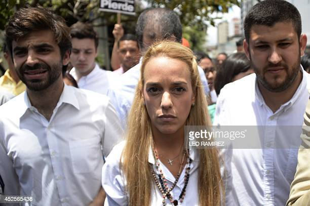 The wife of arrested opposition leader Leopoldo Lopez Lilian Tintori demonstrates in front of the Venezuelan courthouse in Caracas on July 23 2014...