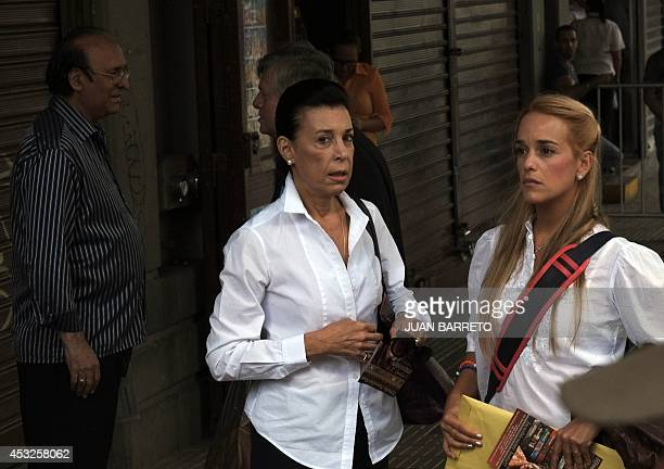 The wife of arrested opposition leader Leopoldo Lopez Lilian Tintori arrives with Lopez' mother Antonieta Mendoza at the Venezuelan courthouse in...