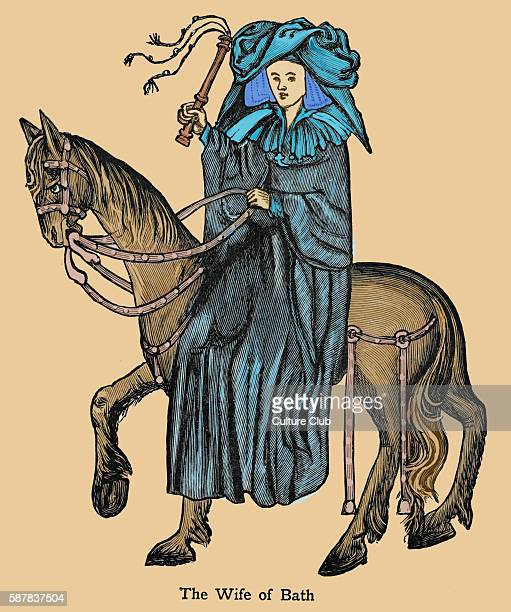 The Wife of Bath character in Geoffrey Chaucer s Canterbury Tales Pilgrim pilgrims English writer 13421400 Colourised version