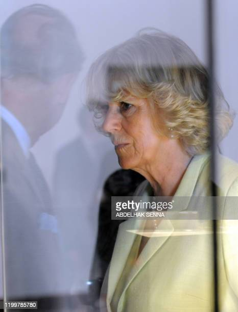 The wife of Britain's Prince Charles Camilla visits on April 5 2011 the museum in the Oudayas Kasbah a fortified neighborhood of Rabat on the coast...
