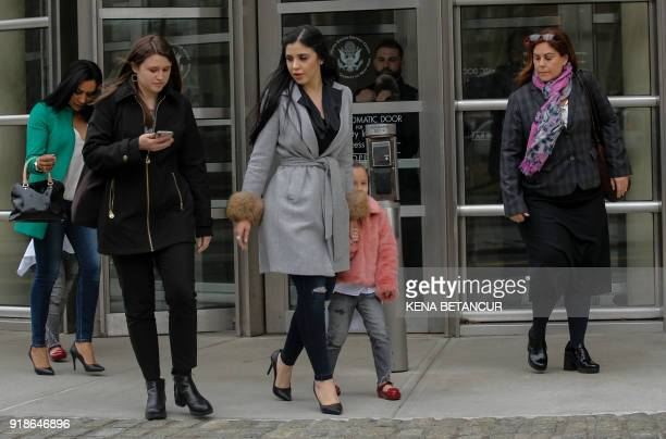 The wife of 'El Chapo' Emma Coronel Aispuro exits from the US Federal Courthouse in Brooklyn after a hearing in the case of Mexican drug lord Joaquin...
