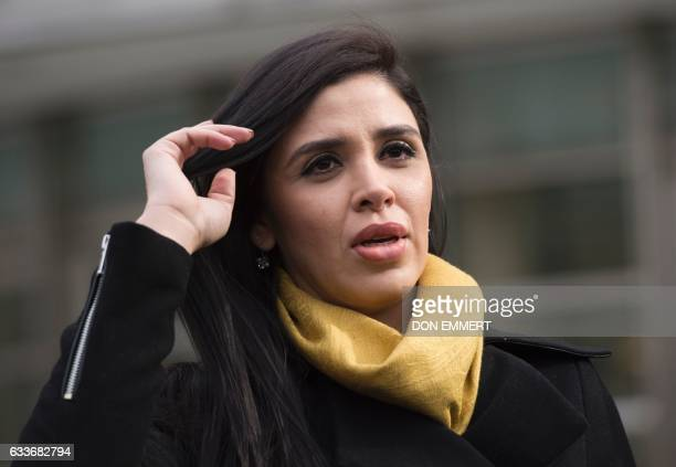 The wife of 'El Chapo' Emma Coronel Aispuro exits the US Federal Courthouse in Brooklyn after a hearing in the case of Joaquin 'El Chapo' Guzman on...