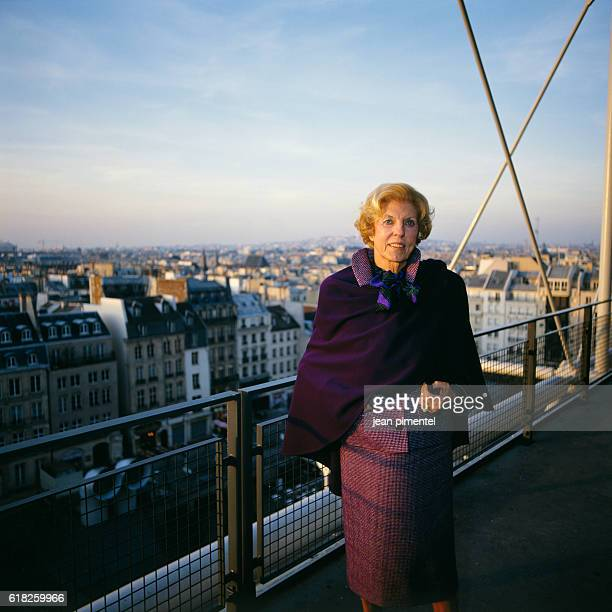 The wife of former French President Georges Pompidou Claude Pompidou at the Pompidou Center in Paris