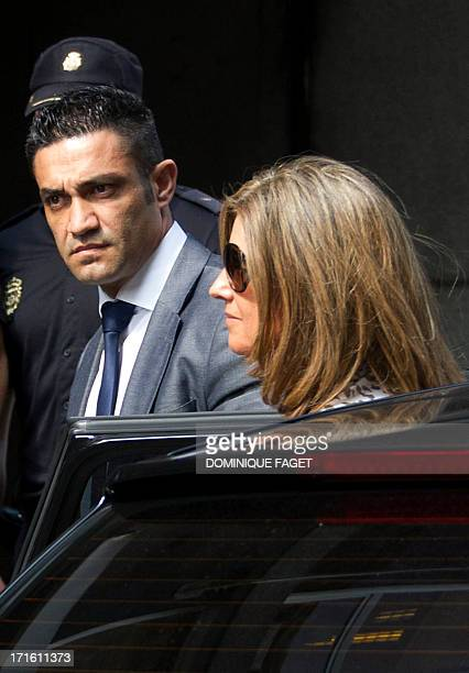 The wife of former PP 's treasurer Luis Barcenas Rosalia Iglesias arrives at the National Court in Madrid to be questioned about the alleged...