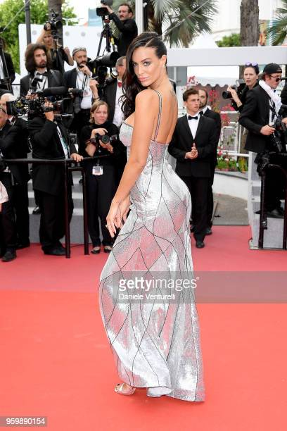 The wife of French businessman Arnaud Lagardere Jade Foret attends the screening of The Wild Pear Tree during the 71st annual Cannes Film Festival at...