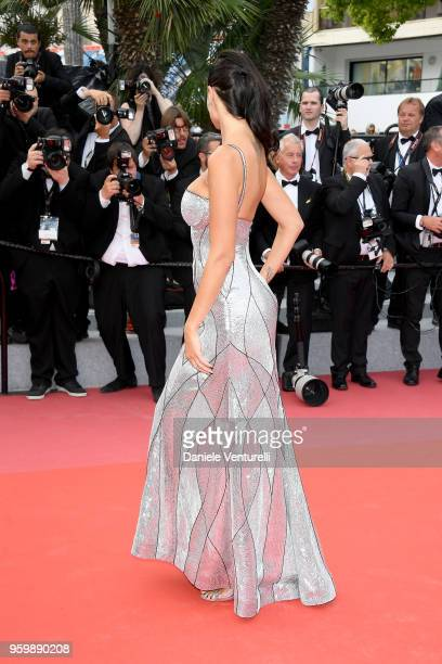 The wife of French businessman Arnaud Lagardere Jade Foret back detail attends the screening of The Wild Pear Tree during the 71st annual Cannes Film...