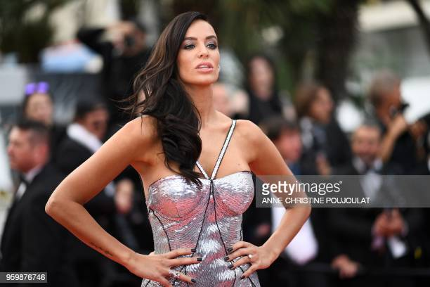 "The wife of French businessman Arnaud Lagardere, Jade Foret poses as she arrives on May 18, 2018 for the screening of the film ""The Wild Pear Tree ""..."