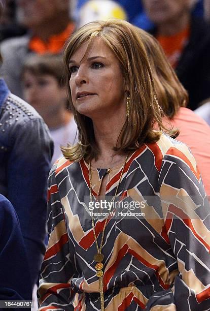 The wife of head coach Jim Boeheim of the Syracuse Orange Juli Boeheim attends their game against the California Golden Bears during the third round...