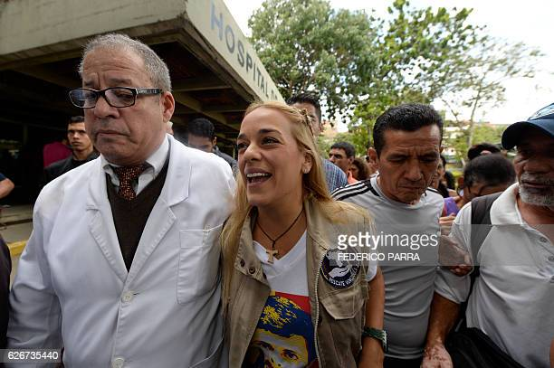 The wife of jailed Venezuelan opposition leader Leopoldo Lopez Lilian Tintori participates in a gathering to donate supplies to the Dr Jose Gregorio...