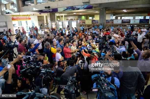 The wife of jailed Venezuelan opposition leader Leopoldo Lopez Lilian Tintori talks to the media upon her arrival at the Simon Bolivar International...