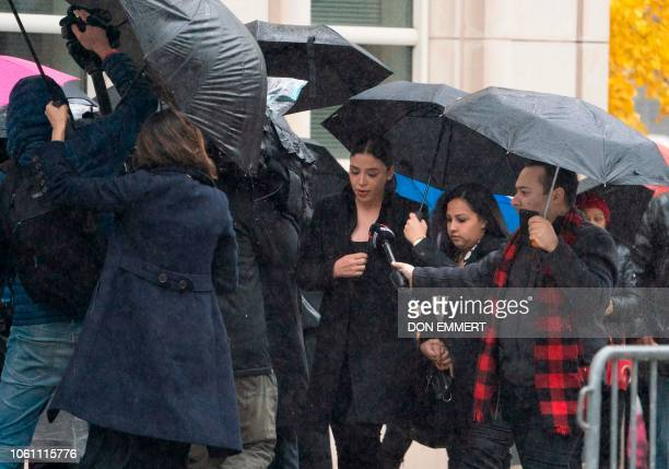 The wife of Joaquin El Chapo Guzman Emma Coronel Aispuro arrives at Brooklyn Federal Courthouse before the opening arguments in the El Chapo trial on...