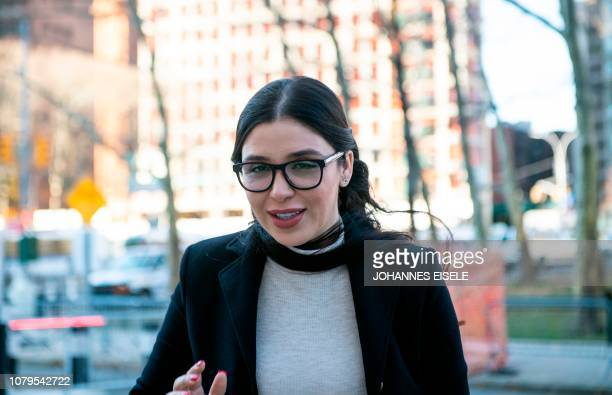 The wife of Joaquin El Chapo Guzman Emma Coronel Aispuro arrives at the US Federal Courthouse in Brooklyn January 9 2019 in New York The trial which...
