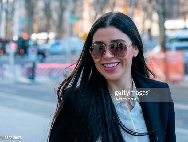 "The wife of Joaquin ""El Chapo"" Guzman, Emma Coronel Aispuro, arrives at the US Federal Courthouse in Brooklyn on January 14, 2019 in New York. - The..."