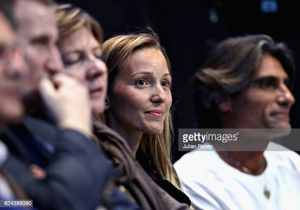 The wife of Novak Djokovic of Serbia, Jelena Djokovic, courtside during the men's singles semi final on day seven of the ATP World Tour Finals at O2...