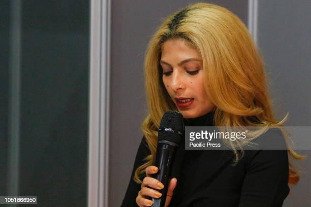 FRANKFURT FRANKFURT HESSE GERMANY The wife of Raif Badawi Ensaf Haidar speaks at the award ceremony for the Raif Badawi Award The 70th Frankfurt Book...