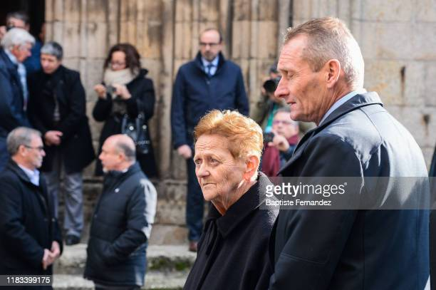 The wife of Raymond POULIDOR and Adrie VAN DER POEL during the Funeral of Raymond Poulidor on November 19 2019 in SaintLeonarddeNoblat France