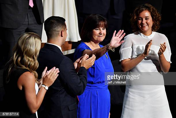 The wife of Republican vice presidential candidate Mike Pence Karen Pence waves to the crowd as Sarah Whiteside son Michael Pence and daughter...