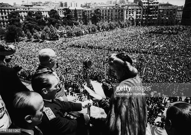 The wife of the Argentinian President Evita Peron speaking to the crowd from the balcony of the Royal Palace Madrid June 1947